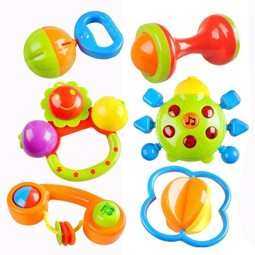 6 sonajeros coloridos