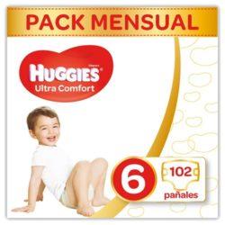 Pack de pañales mensuales huggies talla 6